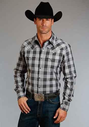 Stetson Buffalo Check Plaid Long Sleeve Snap Front Western Shirt - Grey -  Men s Western Shirts  cc44ed2510e