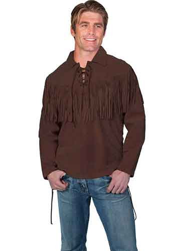 Scully Boar Suede Leather Trapper Shirt - Chocolate - Men's Leather Western Vests and Jackets | Spur Western Wear