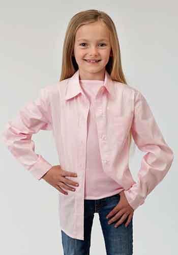 5632c389e27a9 Roper Poplin Long Sleeve Button Front Western Shirt - Pink - Girls  Western  Shirts