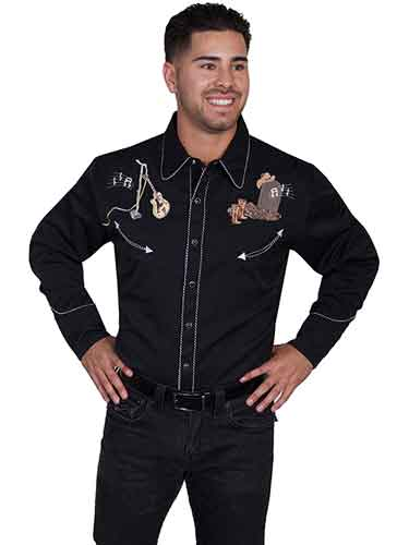 Scully Long Sleeve Snap Front Western Shirt - Black with Musical Skeleton Design - Men's Retro Western Shirts | Spur Western Wear