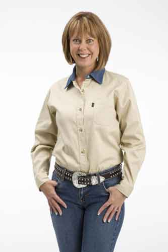 Roper Contrast Collar Long Sleeve Western Shirt - Khaki - Ladies' Western Shirts | Spur Western Wear