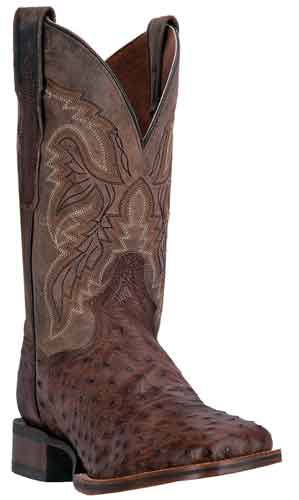 Dan Post Alamosa Full Quill Ostrich Western Boot - Chocolate - Men's Western Boots | Spur Western Wear