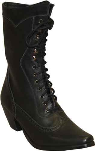 Abilene Ladies Vintage Lace Up Boot Black Ladies