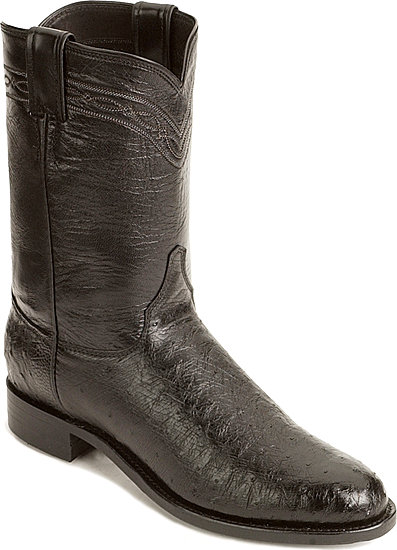 Justin Brock Smooth Quill Ostrich Roper Western Boot - Black - Men's Western Boots | Spur Western Wear