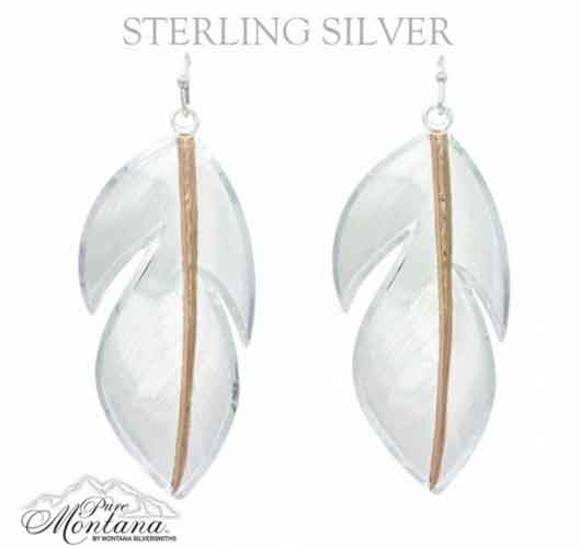 Silversmiths Pure Montana Floating Rose Gold Feather Earrings