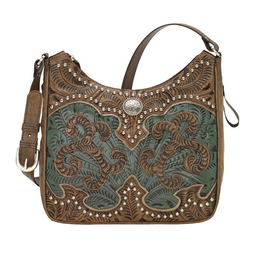 American West Annie S Secret Concealed Carry Shoulder Bag Turquoise Brown Las Western Handbags And Wallets
