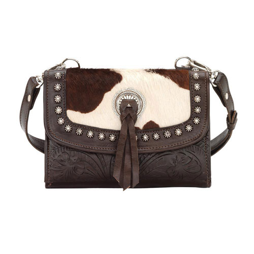 American West Texas Two Step Crossbody Bag Wallet Chocolate Pony Hair