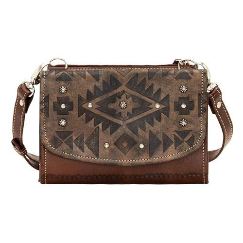 American West Texas Two Step Crossbody Bag Wallet Charcoal Brown Las Western Handbags And Wallets