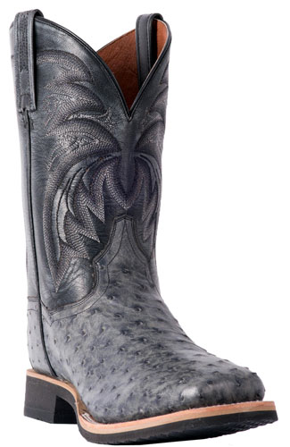 Dan Post Philsgood Full Quill Ostrich Western Boot Grey