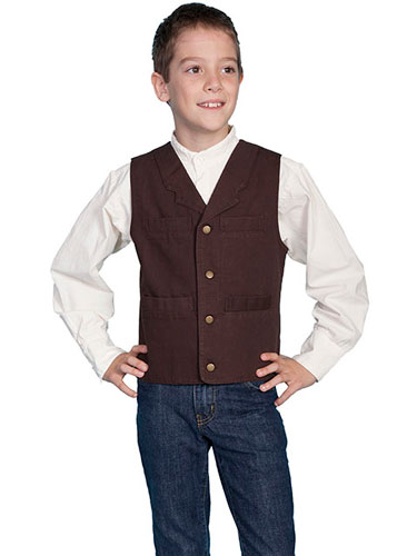 Scully Notched Lapel Canvas Vest - Walnut - Boys' Old West Vests and Jackets | Spur Western Wear