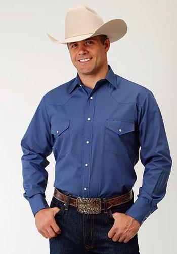 4faaa17935 Roper Broadcloth Long Sleeve Snap Front Western Shirt - Smokey Blue - Men s  Western Shirts