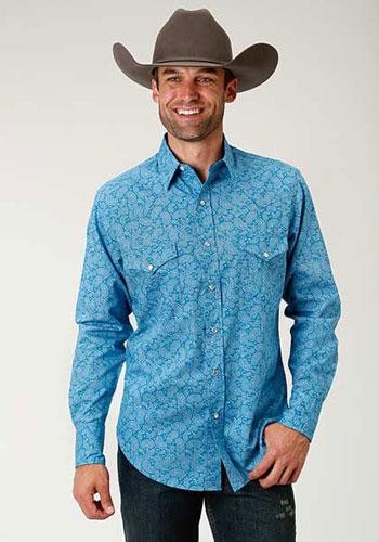 f52351604e Roper Cactus Paisley Long-Sleeve Snap Front Western Shirt - Blue - Men s  Western Shirts