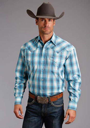 Stetson Horizon Ombre Plaid Long Sleeve Snap Front Western Shirt - Blue -  Men s Western Shirts  dade23fcfca