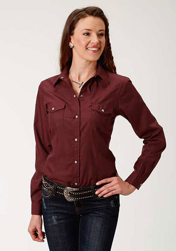 Roper Broadcloth Long Sleeve Snap Front Western Shirt - Wine - Ladies' Western Shirts | Spur Western Wear