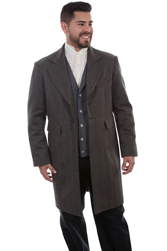 Wah Maker Striped Frock Coat - Black - Men's Old West Vests And Jackets | Spur Western Wear