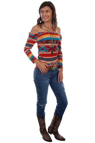 06ff2486709 Scully Honey Creek Serape Ballet Top - Ladies  Western Shirts