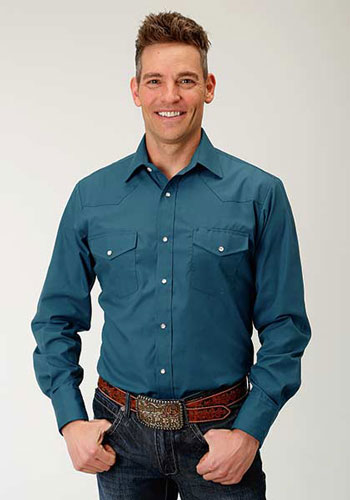 Roper Broadcloth Long Sleeve Snap Front Western Shirt - Teal - Men's Western Shirts | Spur Western Wear