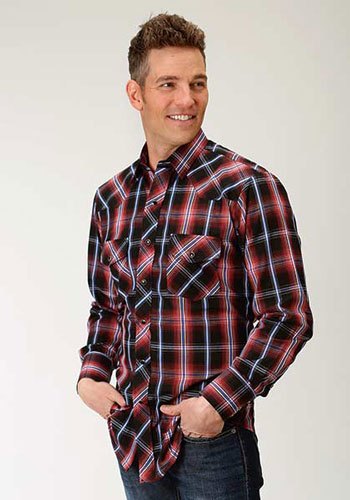 acfdd831 Roper Plaid Long Sleeve Snap Front Western Shirt - Red & Black - Men's  Western Shirts | Spur ...