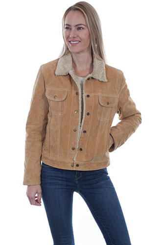 Scully Boar Suede Leather Jean Jacket Rust Ladies Leather