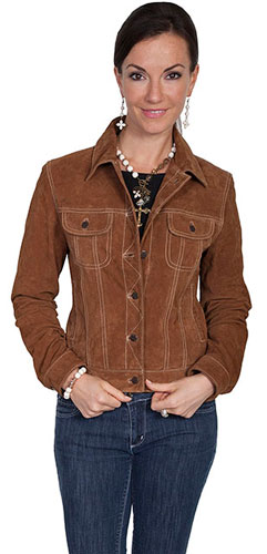 Scully Boar Suede Leather Jean Jacket Cafe Brown Ladies Leather