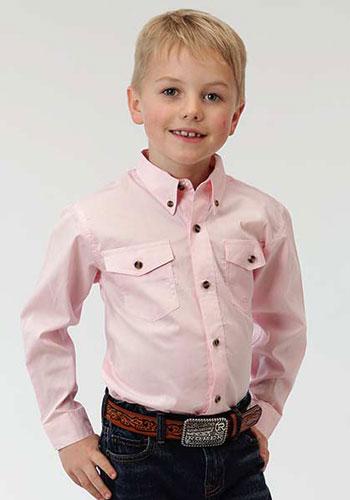 718ef137f Roper Poplin Long Sleeve Western Shirt - Pink - Boys' Western Shirts   Spur Western  Wear