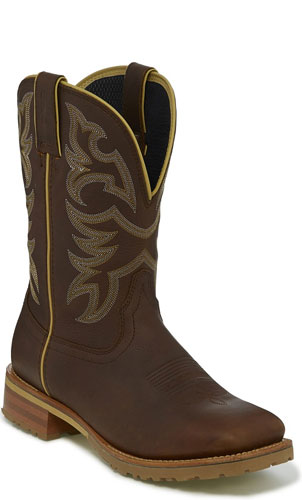 Justin Marshal Waterproof Soft Toe Work Boot - Whiskey Neat Brown - Men's Western Boots | Spur Western Wear