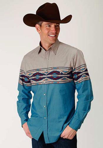b8a4aebcd Roper Vintage Aztec Border Print Western Shirt - Blue - Men's Western Shirts  | Spur Western Wear