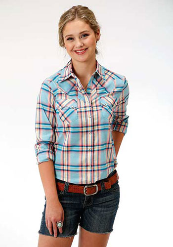 9196ae402ff6 Roper Coral Glow Plaid Long Sleeve Snap Front Western Shirt - Blue - Ladies'  Western Shirts | Spur ...