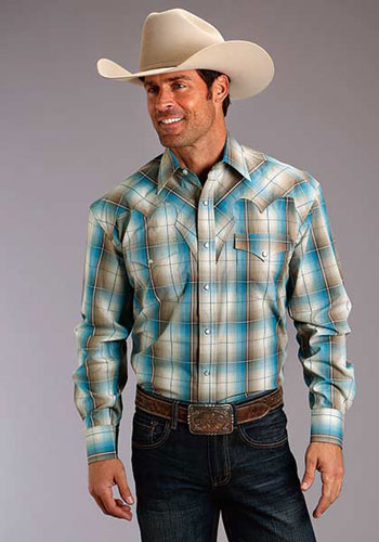 e6c59a830de4b Stetson Pheasant Ombre Plaid Long Sleeve Snap Front Western Shirt - Blue - Men s  Western Shirts