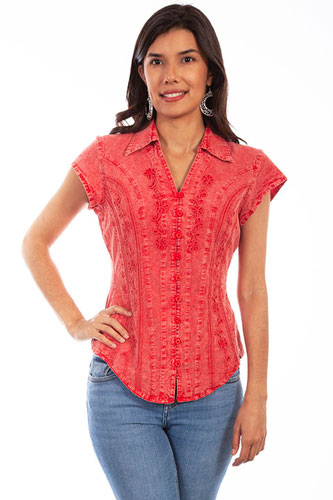 Scully Capsleeve Blouse - Brick - Ladies' Western Shirts | Spur Western Wear
