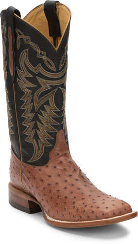 Justin Pascoe Full Quill Ostrich Western Boot - Rum Brown & Black - Men's Western Boots | Spur Western Wear