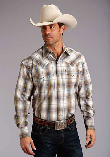 Stetson Ombre Plaid Long Sleeve Snap Front Western Shirt - Sand & Slate - Men's Western Shirts | Spur Western Wear