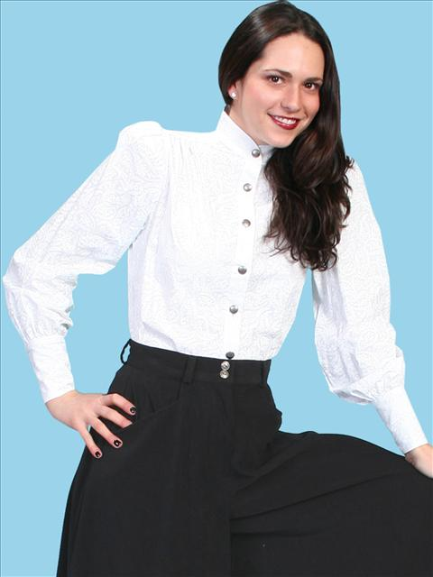 3caff6813539c7 Wah Maker Jennie Victorian Blouse - White - Ladies  Old West Blouses ...