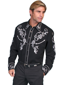 Scully Ponderosa Long Sleeve Snap Front Western Shirt - Black with White Roses - Men's Retro Western Shirts | Spur Western Wear