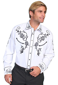 Scully Ponderosa Long Sleeve Snap Front Western Shirt - White with Black Roses - Men's Retro Western Shirts | Spur Western Wear