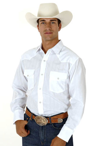 Roper Tone on Tone Long Sleeve Snap Front Western Shirt - White - Men's Western Shirts | Spur Western Wear