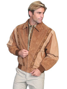 Scully Suede Leather Rodeo Jacket – Cafe Brown with Camel - Men's Leather Western Vests and Jackets | Spur Western Wear