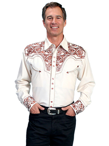 Scully Gunfighter Long Sleeve Snap Front Western Shirt - Cream with Copper Roses - Men's Retro Western Shirts | Spur Western Wear