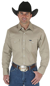 Wrangler Long Sleeve Twill Work Shirt - Khaki - Men's Western Shirts | Spur Western Wear