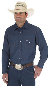 Wrangler Long Sleeve Denim Work Shirt - Rigid Indigo - Men's Western Shirts | Spur Western Wear
