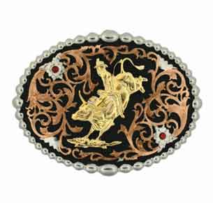 Montana Silversmiths® Tri Colored Bull Rider Buckle