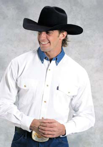 Roper Contrast Collar Long Sleeve Western Shirt - White - Big & Tall - Men's Western Shirts | Spur Western Wear