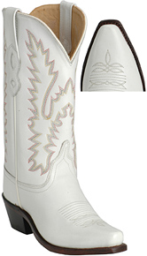 Jama Old West Handcrafted White Calf Western Boots