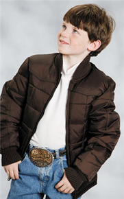 Roper Down Western Jacket - Brown - Boys' Down Western Vests and Jackets | Spur Western Wear