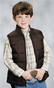 Roper Down Western Vest - Brown - Boys' Down Western Vests and Jackets | Spur Western Wear