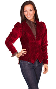 Wah Maker Burn Out Floral Velvet Jacket - Burgundy - Ladies' Old West Vests And Jackets | Spur Western Wear