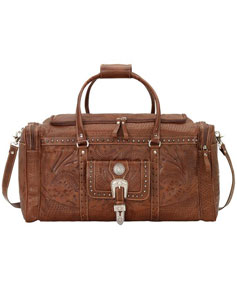 American West Retro Romance Leather Western Rodeo Bag - Antique Brown - Western Luggage | Spur Western Wear