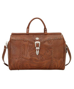 American West Retro Romance Leather Western Duffel Bag - Antique Brown - Western Luggage | Spur Western Wear