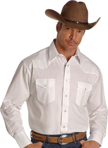 Wrangler Long Sleeve Western Shirt - White - Men's Western Shirts | Spur Western Wear