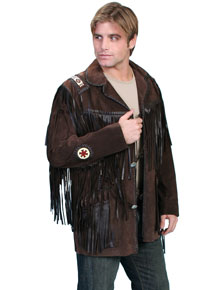 Scully Bead Trim Fringe Leather Coat – Expresso - Men's Leather Western Vests and Jackets | Spur Western Wear